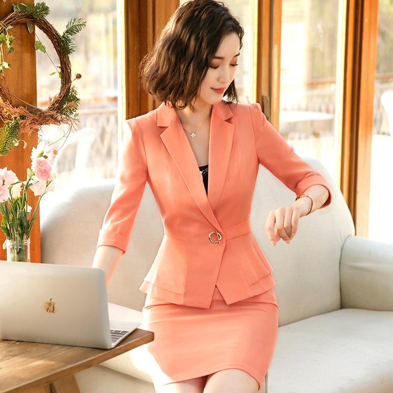 Spring Slim Women's Skirt Suits Business Formal Office Ladies Elegant Half Sleeve Blazer Two Pieces Suits Plus Size Work Jacket
