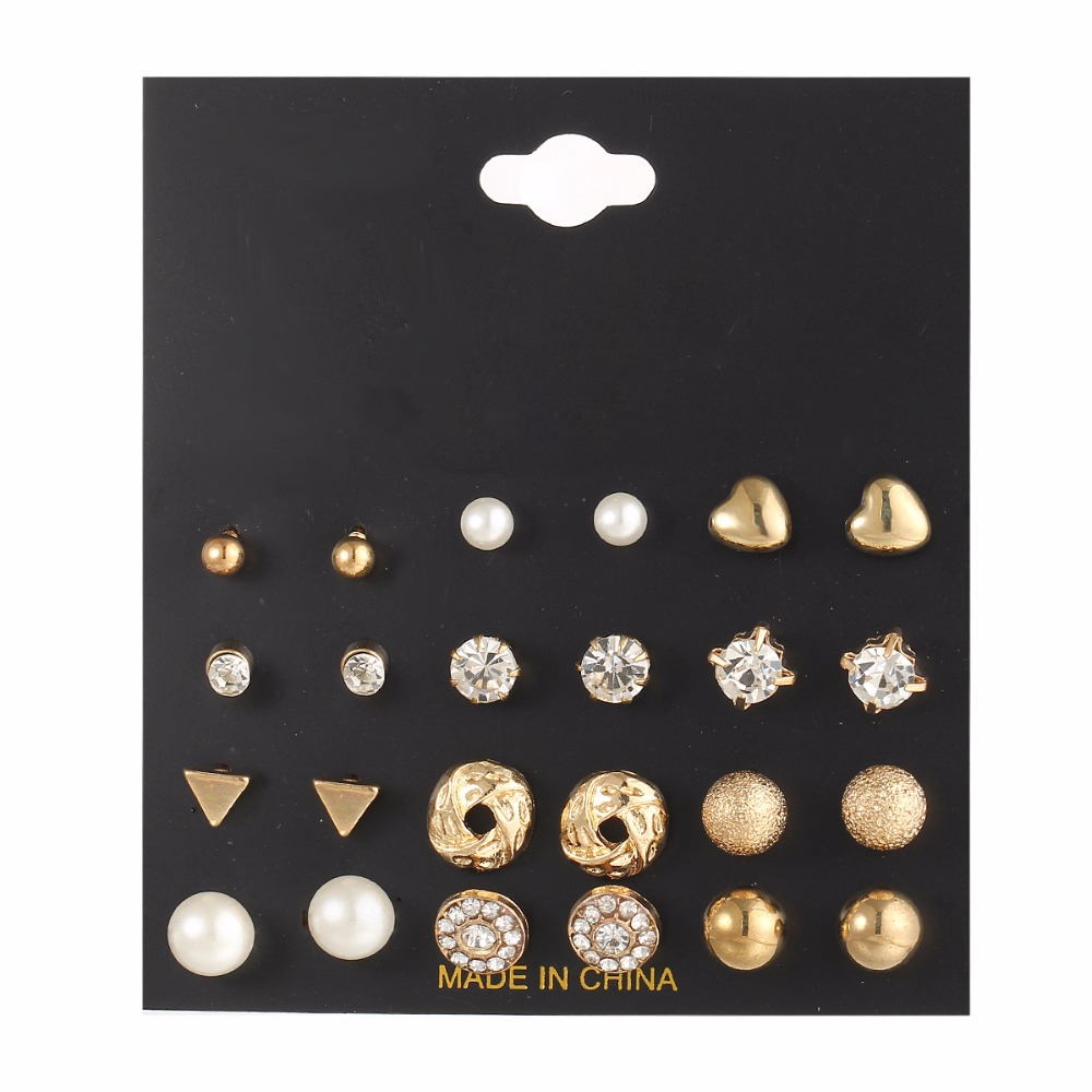 Fashion Mini Crystal Triangle Stud Earrings Set For Women Bijoux Simulated Pearl Heart office Lady Earring Jewelry 12 pairs lot in Stud Earrings from Jewelry Accessories
