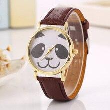 Cindiry Popular Bonito Padrão Panda Mulheres Pulseira Pulseira de Couro Relógio de Quartzo Senhoras Elegantes relógios de Pulso Estudante Assista Presente