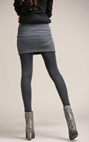 Kerrilado Grey Black False Two piece Legging Pantskirt Women's Fashion Leggings With Mini Skirts Slim Fit 2XL~4XL Plus Size AX11