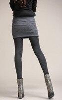 Kerrilado Gris Noir Faux Deux pièces Guêtres De Mode de Legging Pantskirt Femmes Avec Mini Jupes Slim Fit 2XL ~ 4XL Plus La Taille AX11