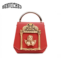 BENVICHED Metal Tote Bag Baroque Angel Women Small Handbags Luxury PU leather Shoulder Bags Vintage Chains Messenger Bag Ladies