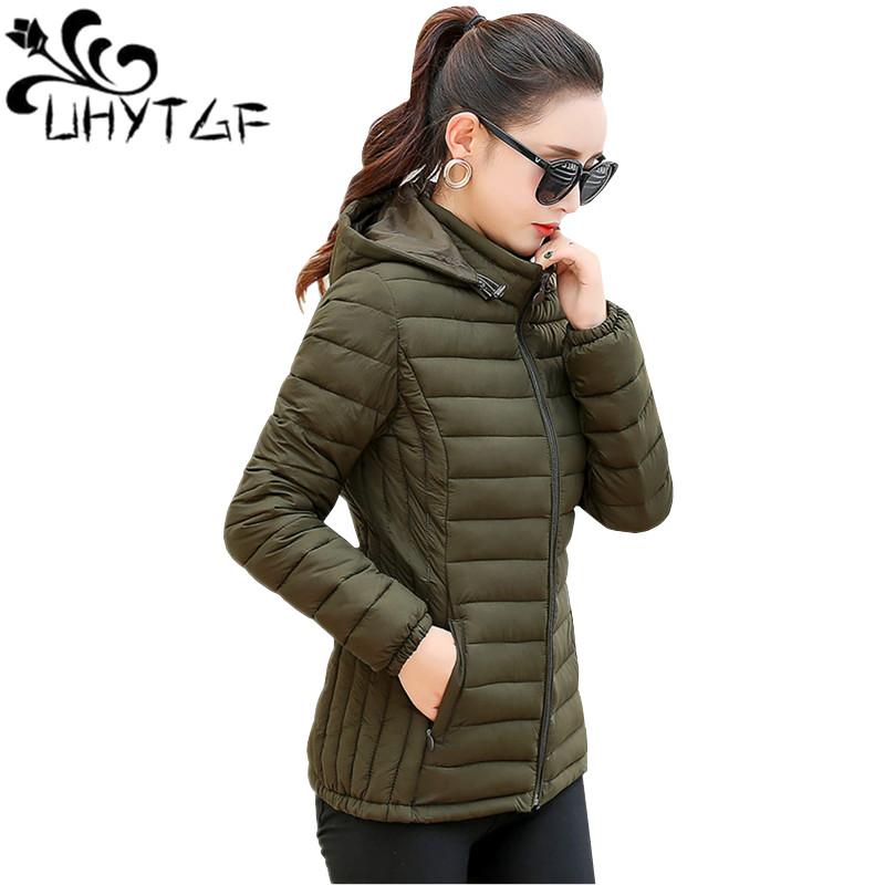 UYTGF Autumn Winter Jacket Women Overcoat Korean Short Basic Coat Warm Hooded Down Jacket Thin Cotton jacket XL5XL Plus size 147