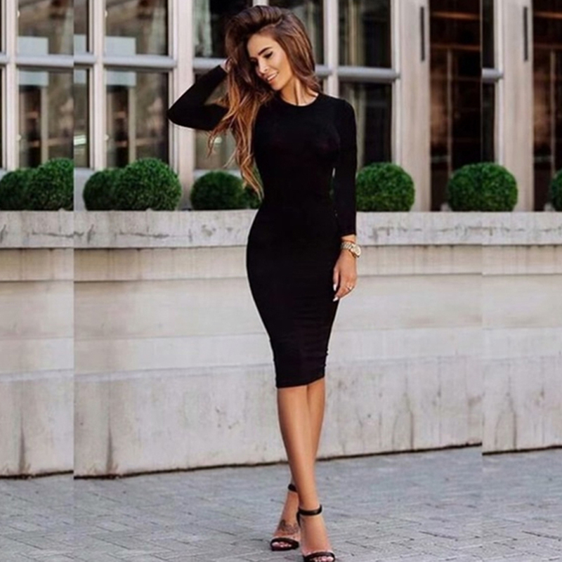 Solid Color Office Work Dresses Women Bodycon Clothing 2019 Spring And Autumn Elegant Long Sleeve