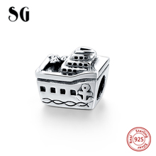 925 Sterling Silver Cruise Boat Tanker Charm Beads Fit Original Authentic European Bracelet Berloques pendant DIY Jewelry Gifts