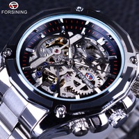 Forsining Mechanical Steampunk Design Fashion Business Dress Men Watch Top Brand Luxury Stainless Steel Automatic Skeleton