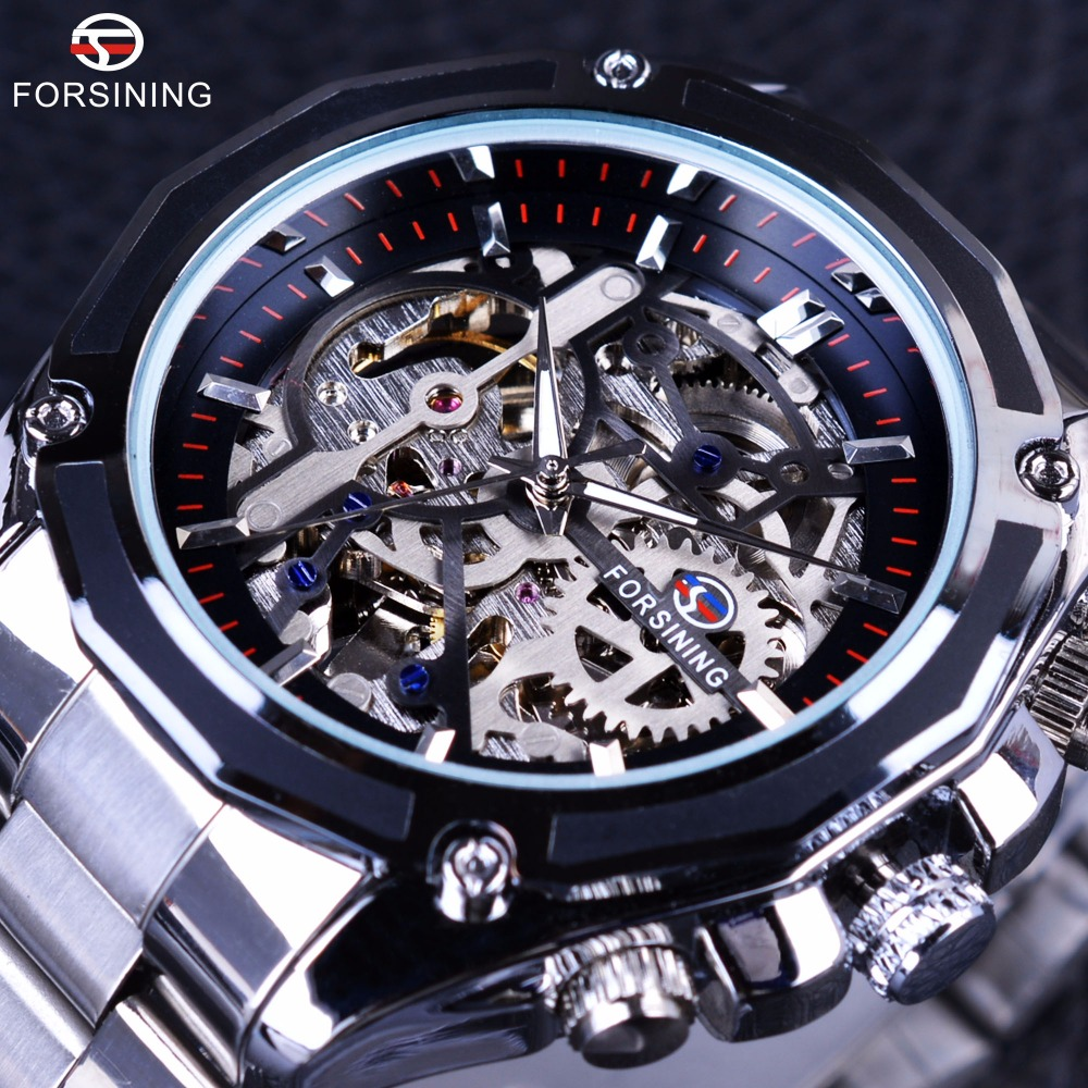 Forsining Mechanical Steampunk Design Fashion Business Dress Men Watch Top Brand Luxury Stainless Steel Automatic Skeleton Watch forsining golden stainless steel sport watch steampunk men watch luminous openwork mechanical watches folding clasp with safety