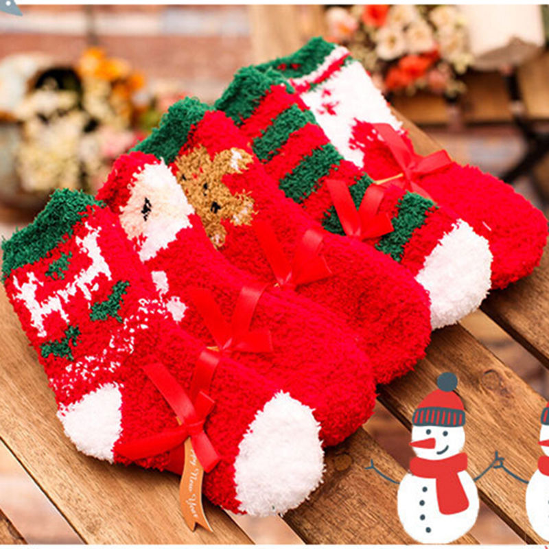 5 Style Baby Boys Girls Winter Warm Socks Infant Toddler Kids Christmas Santa Soft Short Socks