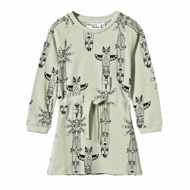 Kinder Winter Kleid Tier Eule Print Baumwolle Herbst Elastische ...
