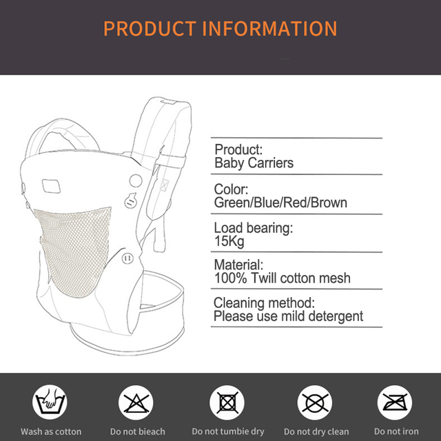 0-30M Baby Carrier Ergonomic Kids Sling Backpack Pouch Wrap Front Facing multifunctional Infant Kangaroo Bag | Happy Baby Mama