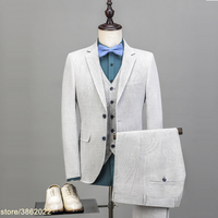 New Arrival Linen Groom Tuxedos Custom Made Man Suit Summer Suits 2 buttons Beach Suits Linen Blazers As Groomsman Suit