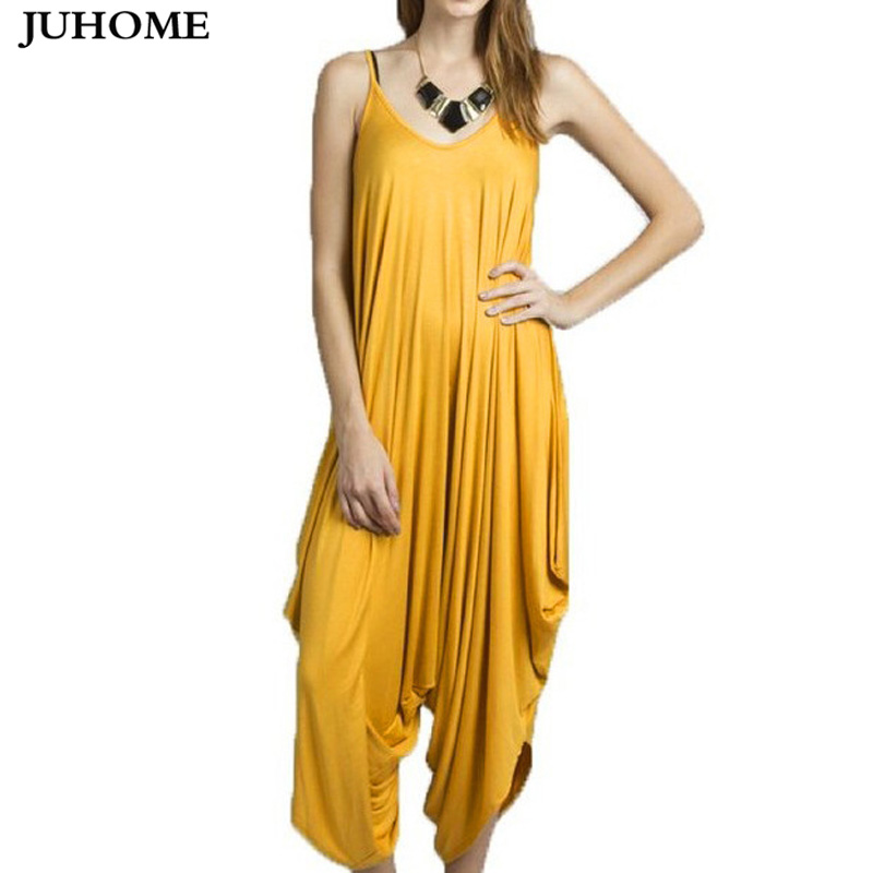 Plus Size Sleeveless Loose Sexy PARTY rompers women   jumpsuit   summer Playsuits Elegant casual RUNWAY yellow Harem pants   jumpsuit