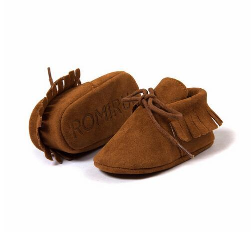 2019 Hot sale PU  Leather Fringe  soft sole   Newnborn Baby Boy Girl mocassion shoes Infant   Non-slip Lace-up baby crib shoes 3