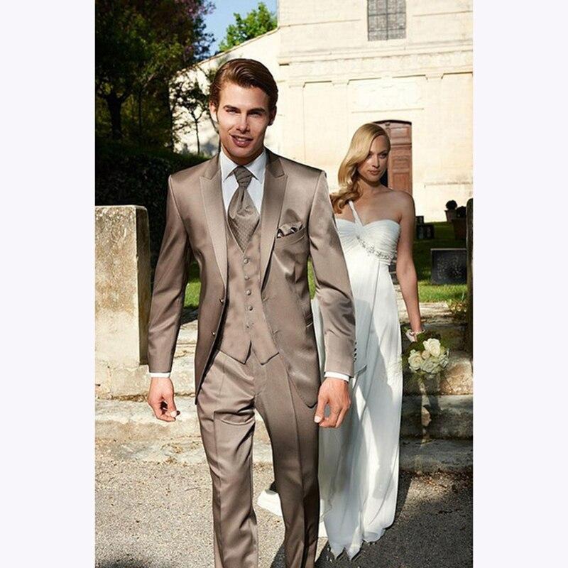 customize vestido de festa shiny kaki Mens Dress suits Groom Tuxedos Two Buttons Business Dinner men suit ( jacket+Pants+vest) ...
