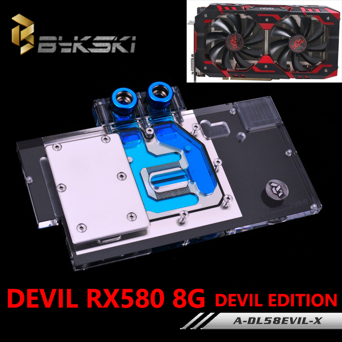 BYKSKI A DL58EVIL X Full Cover Graphics Card Block use for DATALAND RX580 8G DEVIL Edition
