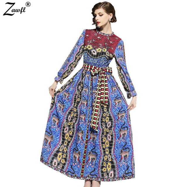 Zawfl Vintage Print Long Dress Women Lantern Sleeve Bow Tie Spring Summer 2018 Zipper Maxi
