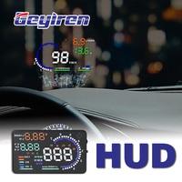 GEYIREN 5.5'' A8 HUD Car head up display OBD II EUOBD LED Windscreen Project Alarm System on board OBD scanner Universal auto