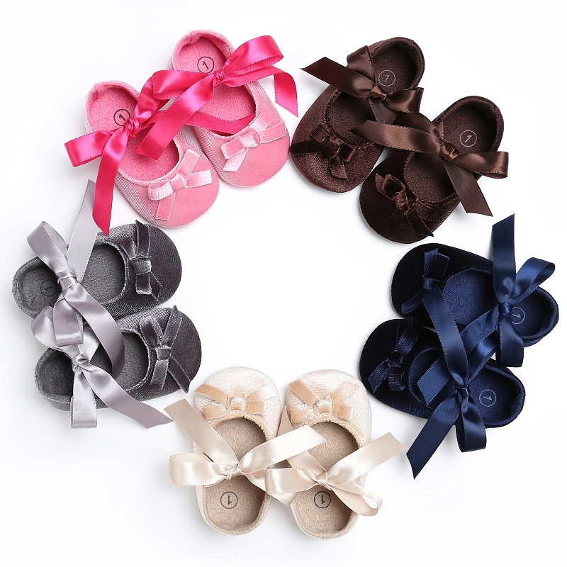 Newborn Baby Girls Shoes Princess First Walkers Cute Bow Soft Soled Crib Baby Shoes Footwear