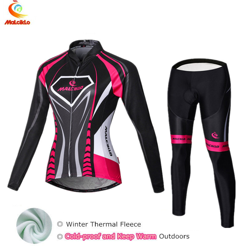 Malciklo 2019 Thermal Fleece Winter Cycling Jersey Women Suit Maillot Cycling Sets Bike Wear Cycle Clothing