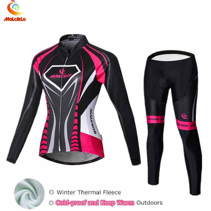 e385d8258 Malciklo 2019 Thermal Fleece Winter Cycling Jersey Women Suit Maillot Cycling  Sets Bike Wear Cycle Clothing