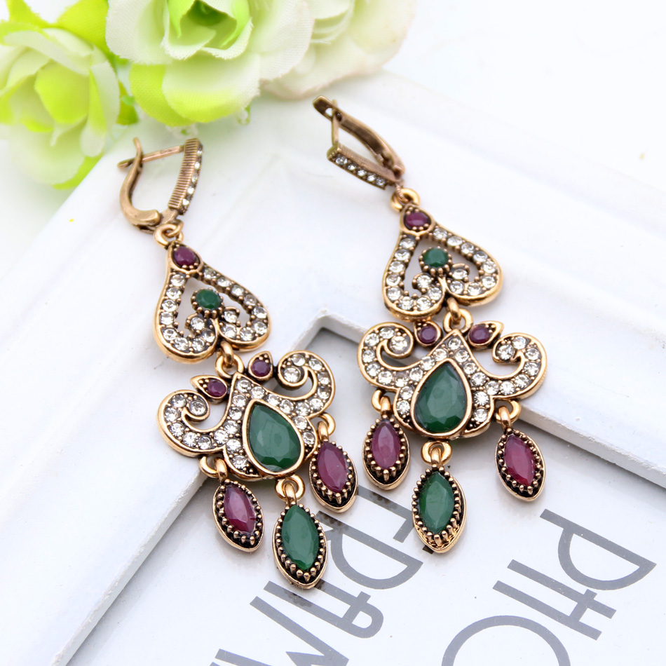 Fashion Vintage Turkish Earrings For Women Antique Water Drop Gold Color Brincos Arabesque Ethnic Engagement Party Festival Gift