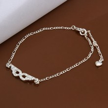 2016 Hot Sale Gift Anklet Silver Color silver plated fashion jewelry anklet for women jewelry/iWSVFGLHJ
