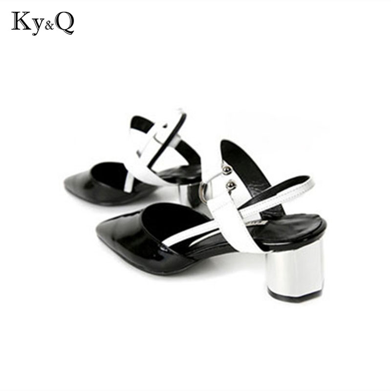 2018 Summer Sexy Point Toe Patchwork Party Sandals Women Runway Buckle Back Strap Med Heels Shoes Lady Wedding Pumps Shoes hot 2016 new fashion t strap buckle pumps women high heels ladies sexy pointed toe summer party wedding patchwork shoes sandals