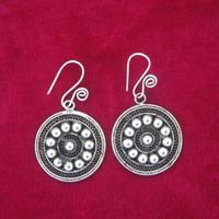 National Wind Tradition Ancient Method Pinch Filament Craft Pure Handmade Silver Silver Retro Palace Earrings