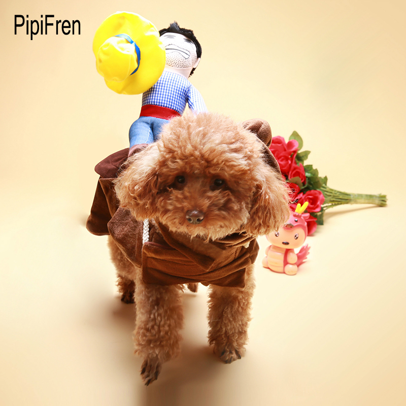 PipiFren Dogs Clothes Horse Riding Funny Costumes For Outfit Pet Clothes Dress up Cartoon Cowboy ropa para perros vestidos