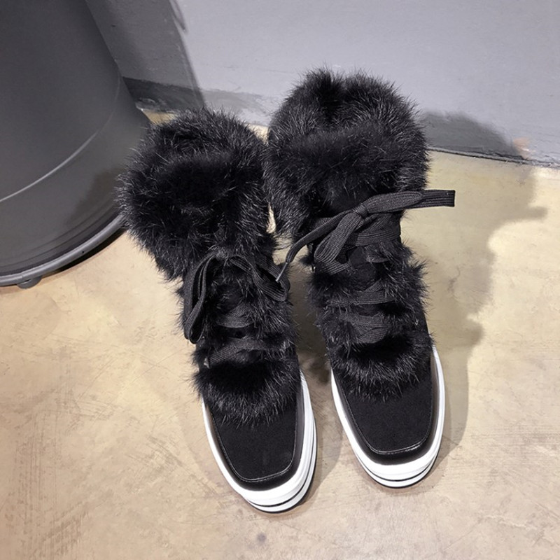 New Black Solid Lace Up Plush Women Casual Boots Round Toe Hairy Bottes Feminines Cake Bottom Platform Winter Warm Ankle Boots