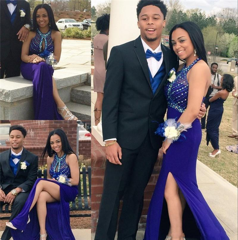 Couple Fashion African Arabic Prom Dresses Sexy Keyhole