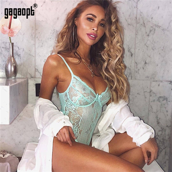 Gagaopt 2019 Spring 16 Colors Lace Bodysuit Women Floral Embroidery Bow Tie Hollow Out Sexy Bodysuit Jumpsuit Overalls Party 3