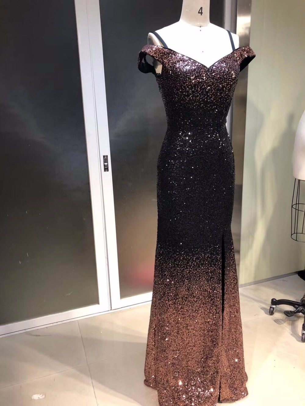 Summer Sexy Mermaid Prom Dresses Short Sleeve design Evening Dress Sequins New Design Amazing Party gown beading Evening gown - 3