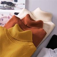 Ordifree Pull Femme Women Knitted Sweater Knitwear Jumper Yellow Black Winter Slim Soft Turtleneck Women Sweaters and Pullovers