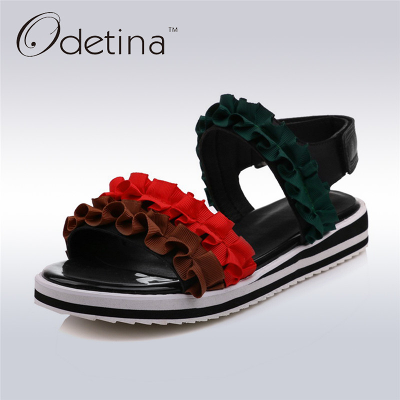 Odetina 2017 New Ankle Strap Sandals Flat Open Toe Women Platform Beach Sandals Flower Sweet Summer Shoes Casual Big Size 32-48 odetina 2017 new summer women ankle strap ballet flats buckle hollow out flat shoes pointed toe ladies comfortable casual shoes