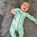 Baby Boy wave printing pure Cotton long sleeve  Rompers with Zipper infant Jumpsuit sleepwear one-piece suit boutique clothing