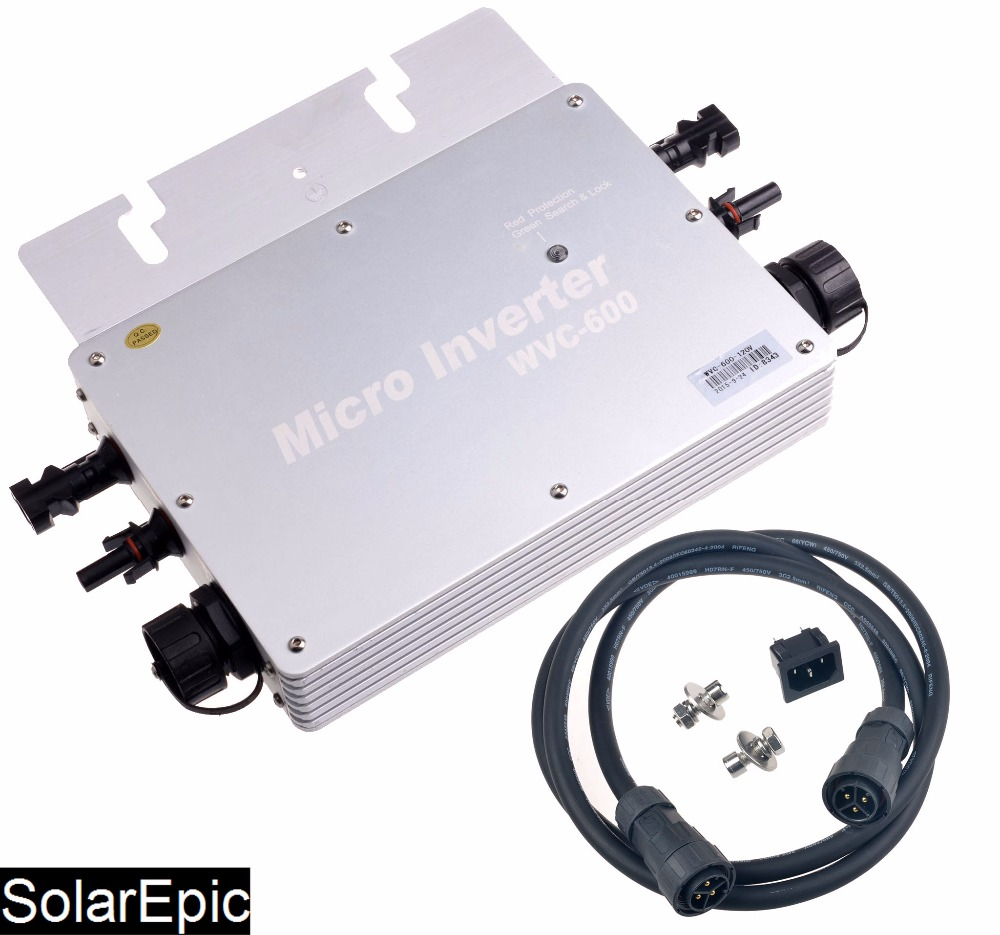 600W Waterproof Grid Tie Inverter DC22-50V to 220V Pure Sine Wave Inverter IP65 With MPPT Functions IP65 22 50v dc to ac110v or 220v waterproof 1200w grid tie mppt micro inverter with wireless communication function for 36v pv system