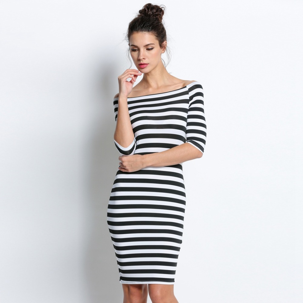 c00c3c2b7db5 FANALA Women Bodycon Dress Sexy Summer Dress Plus Size 2018 Off Shoulder  Striped Office Cotton Beach Party Clubwear Wrap Dresses-in Dresses from  Women s ...