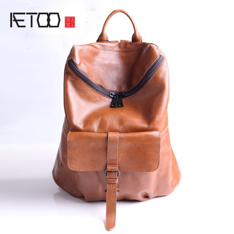 AETOO Leather shoulder bag neutral backpack college wind retro Europe and the United States street beat men and women common  gzl 2017 female backpack europe and the united states simple style fashion backpack college backpack bucket bag leisure package