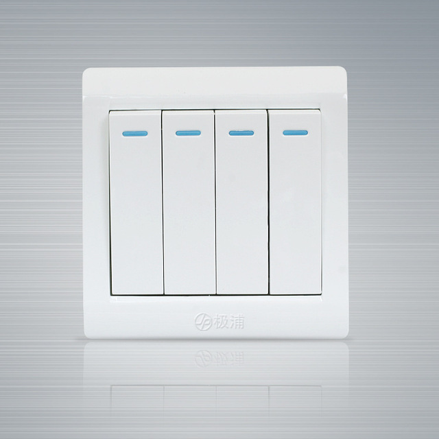 New 4 gangs Single control switch panel white wall light switch ...