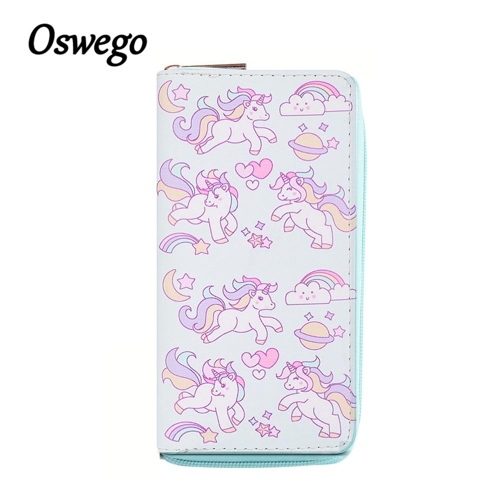OSWEGO Cartoon Cute Unicorn Rainbow in Sky Printing PU Women Long Wallet Zipper Pouch Card Holder Cash Purse Clutch Bag