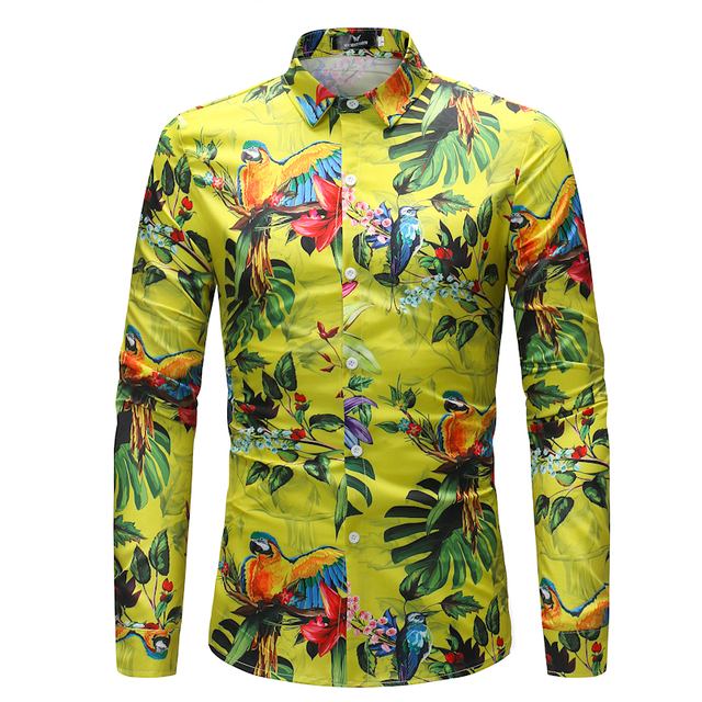 f0ad3d5f 2018 Retro Floral Printed Man Casual Shirts Fashion Classic Men Dress Shirt  Breathable Men's Long Sleeve