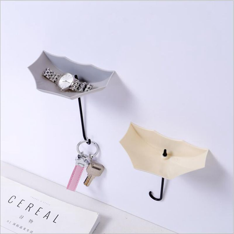 Image 2 - 3pcs/set Multifunction Umbrella Wall Hook Cute Umbrella Wall Mount Key Holder Wall Hook Hanger Organizer Durable Key Holder-in Hooks & Rails from Home & Garden