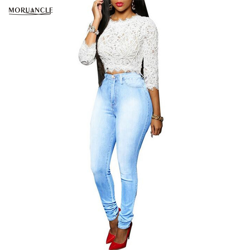 MORUANCLE Fashion Ladies Sexy Skinny Jeans Pants Washed Denim Joggers Light Blue Jean Trousers Womens Push Up Plus Size S-XXXL слинг шарф fil39 up s m blue jean джинсовый fil39 up на