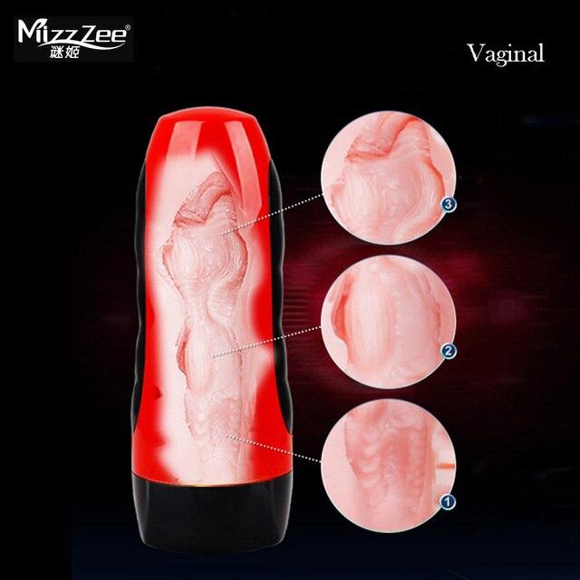 Mizzzee электрический мужской Мастурбаторы USB Перезаряжаемые искусственный Вагина вибрационный реалистичные девушка киска взрослых Интимные товары для Для мужчин