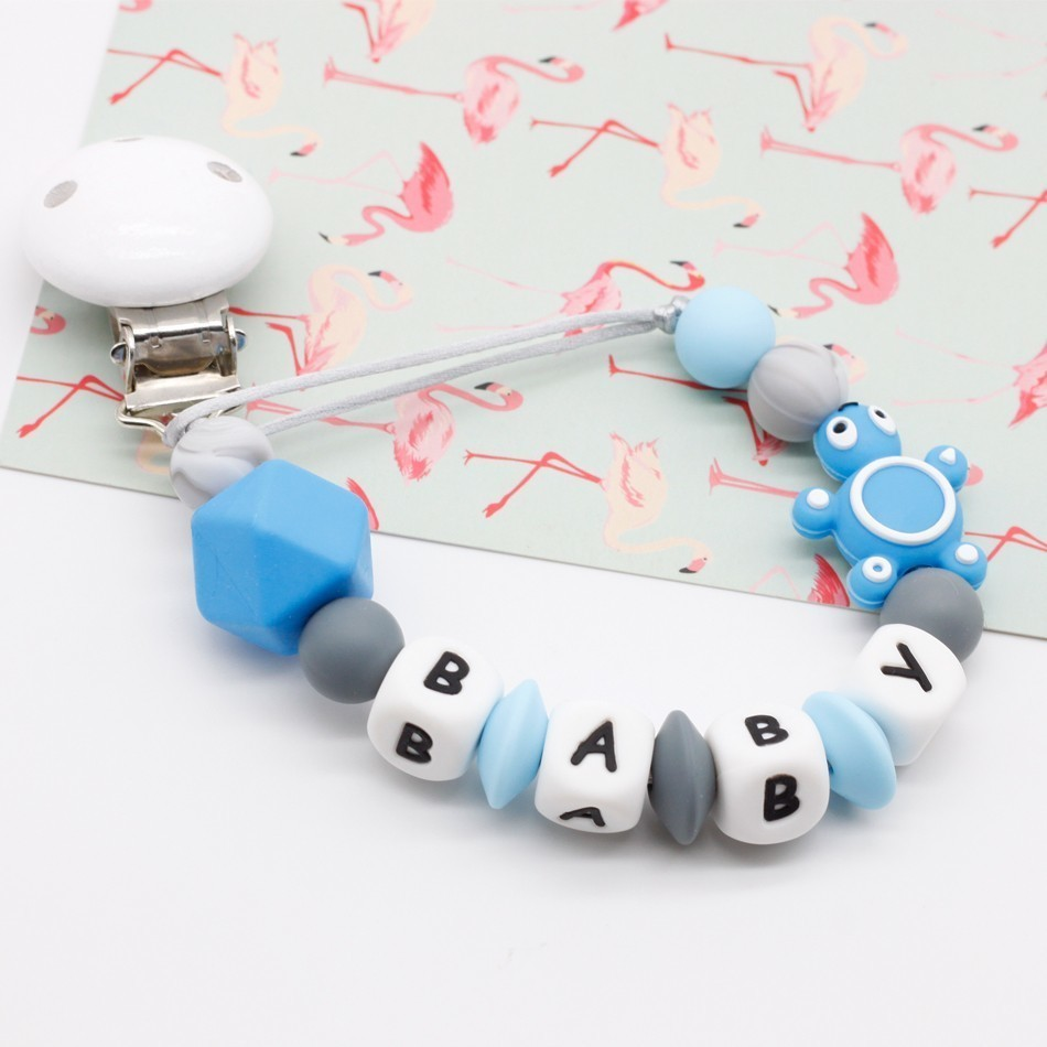 pacifier clip dummy chain holder wood silicone personalized name baby giftpacifier clip dummy chain holder wood silicone personalized name baby gift