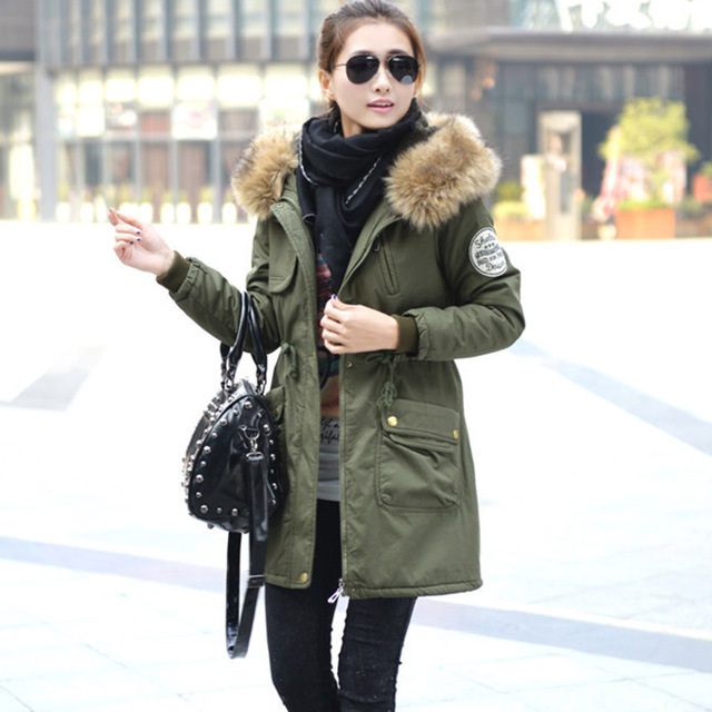 Green Parka Coat With Fur Hood Womens Quilted Coats 2016 Korean ...