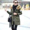 Verde Abrigo Parka Con Capucha de Piel Mujeres Abrigos Acolchados 2016 Ucrania Chaqueta de Invierno de Corea Mujeres Manteau Femme Parkas Chaquetas Femeninas