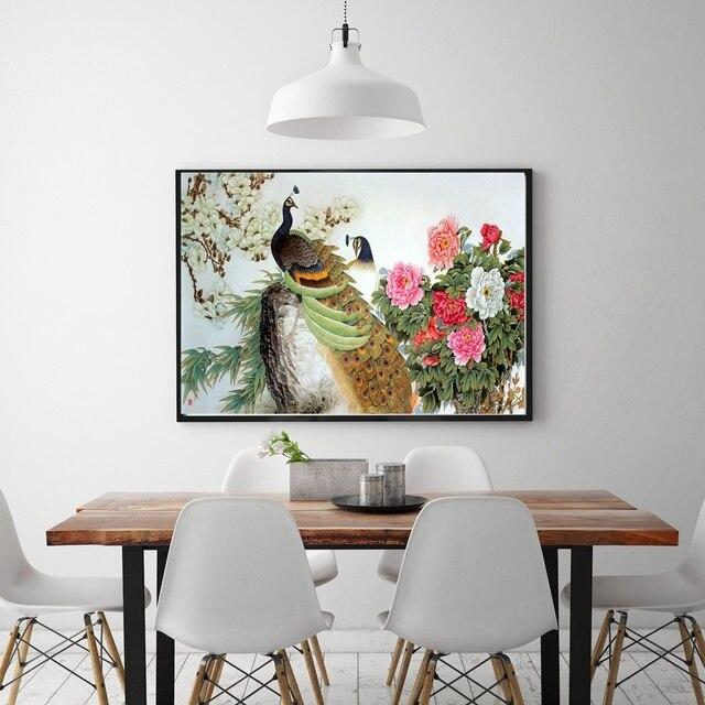 Beste Geschenk Ziemlich Zwei Pfauen Jasmin Und Pfingstrose Tinte Und  Waschen Malerei Tier Für Wohnzimmer Dekor