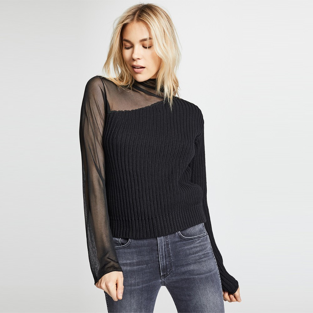 HYH Haoyihui Femme Fashion Popular Simple Tops Turtleneck Sexy Asymmetric Mesh Splicing Slim Easy Match Knitted Sweater in Pullovers from Women 39 s Clothing